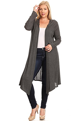 Modern Kiwi Plus Size Ribbed Knit Flowy Open Hoodie Cardigan Charcoal 1X Hooded Ribbed Cardigan