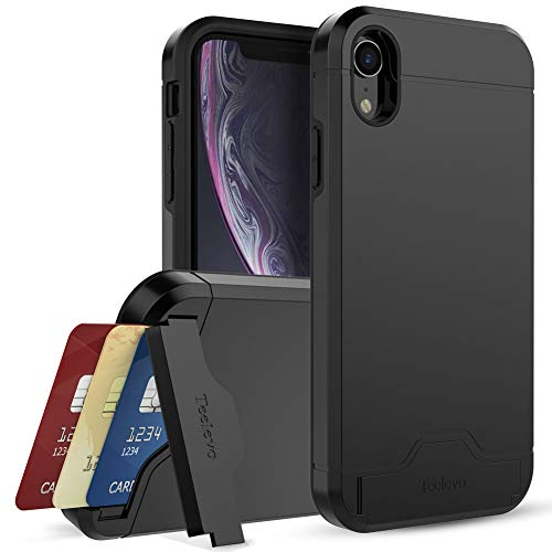 Teelevo Wallet Case for Apple iPhone XR (2018) with Card Slot Holder and Kickstand - Black