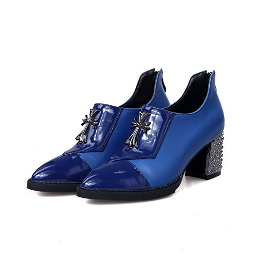 Zipper Shoes Pumps Closed Solid PU WeiPoot Heels Kitten Toe Blue Pointed Women's g5Z4wv