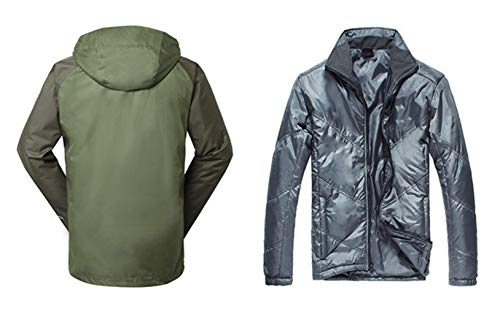 Outdoor Green Two Sports Down Detachable one Three Men's Warm Piece Breathable in rPCrwpq