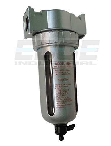 COMPRESSED AIR IN-LINE PARTICULATE FILTER, MOISTURE TRAP, 1/2'' NPT PORTS, 105 CFM, 5 MICRON ELEMENT, POLY BOWL by T-H-B CO EDGE INDUSTRIAL