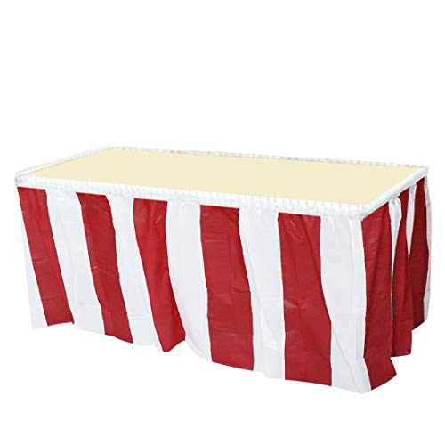 JINSEY 4 Pack Red and White Striped Table Skirt Carnival Circus Theme Party Decorations & Suppliers]()