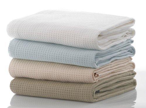 Couverture 100% coton gaufré Couvre-lit double Taille en crème 220 cm x 220 cm