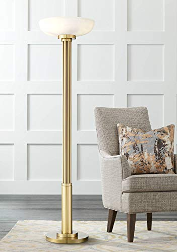 Granview Modern Torchiere Floor Lamp Warm Antique Gold Metal Glass Shade for Living Room Reading Bedroom Office Uplight - Possini Euro -