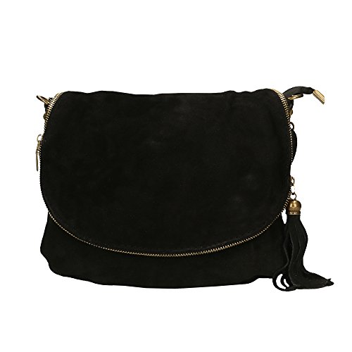 Woman Shoulder Bag in Genuine Suede Leather Made in Italy - 30x20x3 Cm (Genuine Ladies Leather Suede)