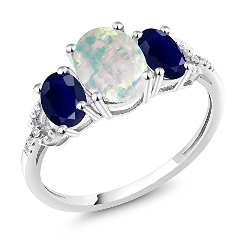 10K White Gold Diamond Accent Three Stone Engagement Ring set with 2.20 Ct Cabochon White Simulated Opal & Blue