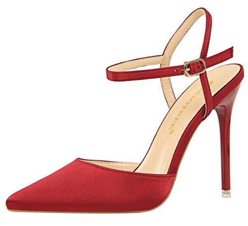 DADAWEN Women's Satin Stiletto Evening Dress Pumps Prom Party Wedding Court Shoes Burgundy 715Uqa3sR