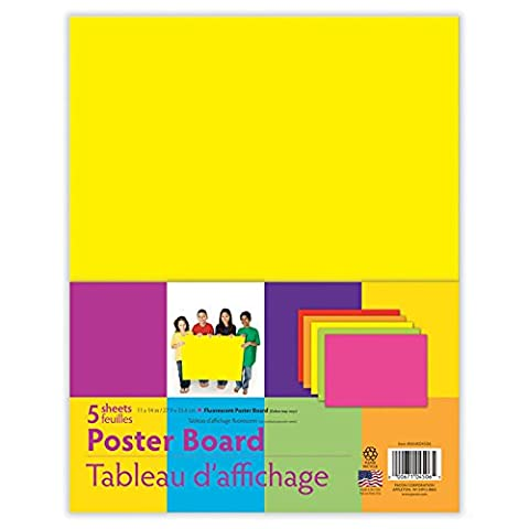 PACON Variety Pack Fluorescent Poster Board, 11 x14 Inches, Assorted Neon, 5-Sheet Pack - Fluorescent Pink Poster Board