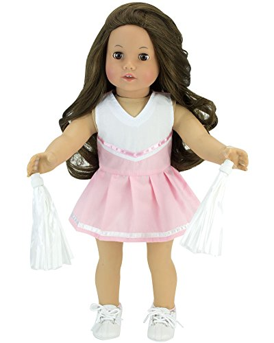 18 Inch Doll Light Pink Cheerleading 2pc Set Fits 18 Inch American Girl Doll Clothes & More! Pink Cheer Outfit with White Pom-Poms