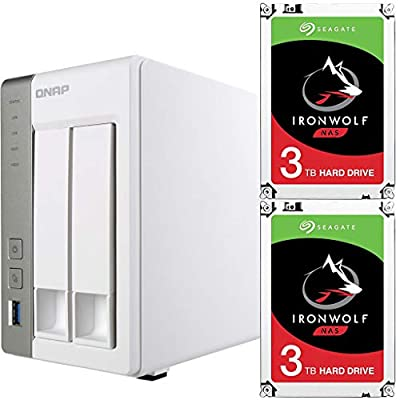 Qnap TS-231P-US Personal Cloud NAS Bundle Assembled and Tested with 6TB (2 x 3TB) of Seagate Ironwolf NAS Drives by CustomTechSales