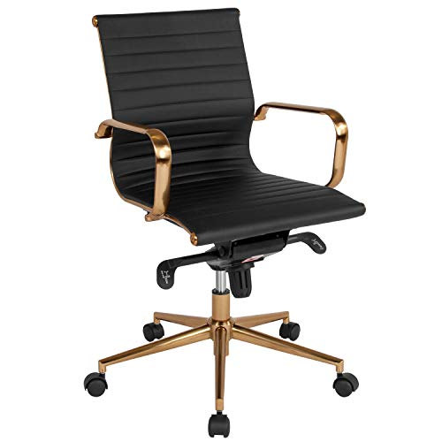 Flash Furniture Mid-Back Black Ribbed Leather Executive Swivel Office Chair with Gold Frame, Knee-Tilt Control and Arms