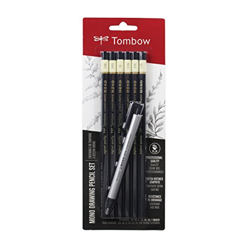 Tombow 61002 MONO Drawing Pencil Set, Combo 6-Pack. Professional Quality Graphite Pencil Set with Precision Zero Eraser by American Tombow