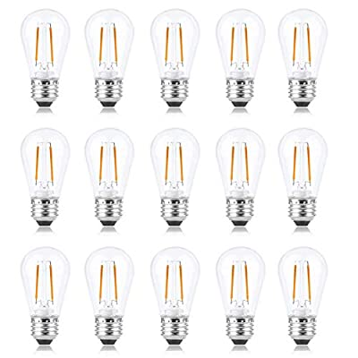 S14 LED Bulb 2W Dimmable, Alcyoneus Shatterproof Ambience Vintage Edison Filaments Bulbs, 20W Incandescent Bulb Equivalent for Patio,Cafe,Bistro,Market Commercial, 2700K E26 Base,15 Pack [Warm White]