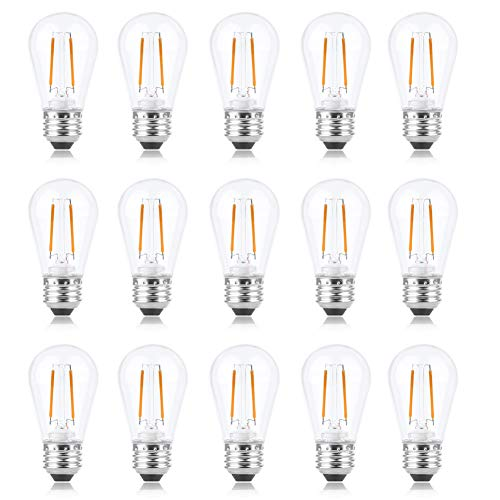 S14 LED Bulb 2W Dimmable, Alcyoneus Waterproof Shatterproof Vintage Edison LED Filament Bulb,20W Incandescent Bulb Equivalent for Patio,Cafe,Bistro,Market Commercial,2700K E26 Base,15 Pack[Warm White]