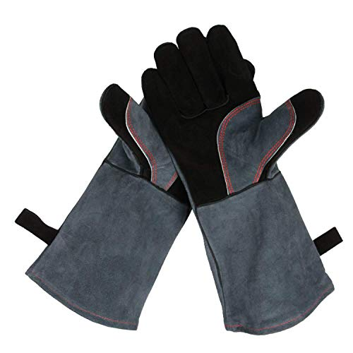 OZERO 932°F Heat Resistant Grill BBQ Gloves Leather Forge Welding Glove with Long Sleeve for Men and Women Black-Gray 16-inch (Burning Grills Bbq Wood)