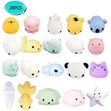20Pcs Squishy Toys, LEEHUR Party Favors Mochi Squishies Mini Squeeze Funny Toy Soft Stress and Anxiety Relief Toys for Kids/Adults Random Color
