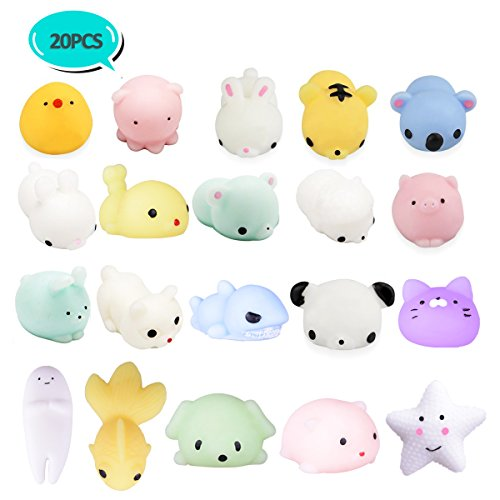 LEEHUR 20Pcs Squishy Toys, Party Favors Mochi Squishies Mini Squeeze Funny Toy Soft Stress and Anxiety Relief Toys for Kids/Adults Random Color