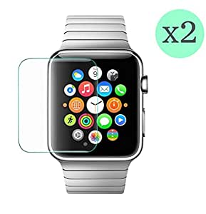 (Pack de 2) Protector de pantalla Cristal templado para Apple Watch 42mm  Calidad HD, Grosor 0,3mm, Bordes redondeados 2,5D, alta resistencia a golpes 9H. No deja burbujas en la colocación (Incluye instrucciones y soporte en Español)
