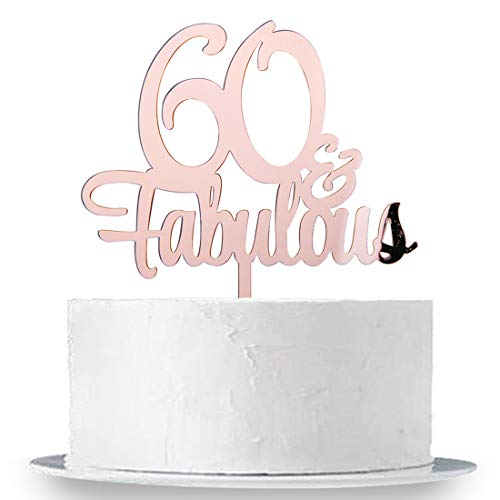 INNORU 60 & Fabulous Cake Topper, Mirror Rose Gold 60th Birthday Party Cake Decorations, Cheers to 60 Years -