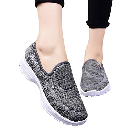 - Women Breathable Walking Shoes Girl Slip on Loafers Casual Lightweight Sneakers Tennis Trainers Stretch Cloth Shoes (Gray, US 7)
