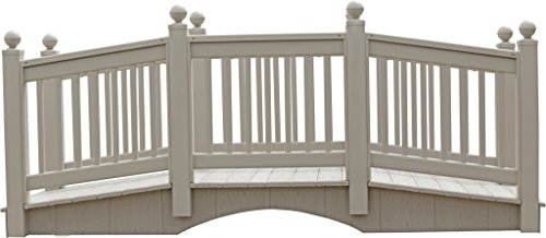 10 Foot Vinyl Outdoor Bridge with Gray Vekadeck Flooring - Clay - Amish Made in USA by Furniture Barn USA