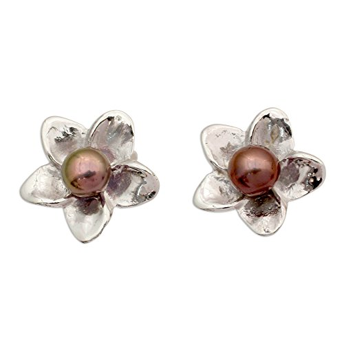 (NOVICA Dark Gray Cultured Freshwater Pearl .925 Sterling Silver Button Earrings 'Shadow Jasmine')