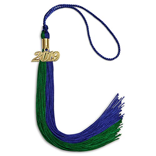 (Double Color Graduation Tassel With Date Drop (Royal Blue/Green))