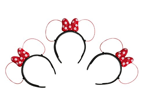LED Minnie Mouse Ears and Headbands in Red Color with Polka Dots - Set of 3! (Minnie Mouse Led Costume)