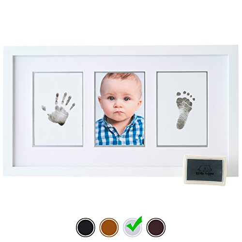 Baby Handprint Kit by Little Hippo - DELUXE EDITION! Newborn Baby Picture Frame (WHITE) & Non Toxic INK! Baby Footprint kit, best baby shower gifts! Perfect for Baby Boy gifts, (Baby Shower Decor Kits)