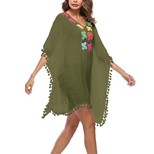 Delle Kaftano Coprire Womens Abiti Bikini Zhhlinyuan Nappa Beachwear Vestito Costume Del Modo Da Verdi Vacanze Da Casual Bagno r0xRr56n