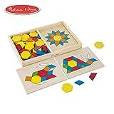 Melissa & Doug Pattern Blocks and Boards Classic Toy (Developmental Toy, Wooden Shape Blocks, Double-Sided Boards, 120 Shapes & 5 Boards)