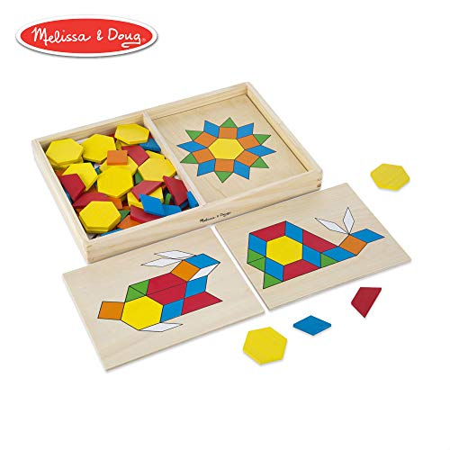 Melissa & Doug Pattern Blocks and Boards Classic Toy (Developmental Toy, Wooden Shape Blocks, Double-Sided Boards, 120 Shapes & 5 Boards) ()