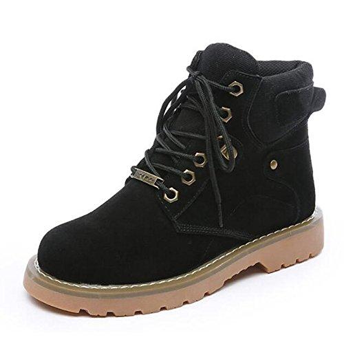 Inverno Stivali da per Casual tallone Comfort Vacchetta tonda HSXZ scarpe Mid Black combattere passeggio Stivali merletto stivali Chunky punta donna Scarpe di Calf cucitura Autunno qvwI4x