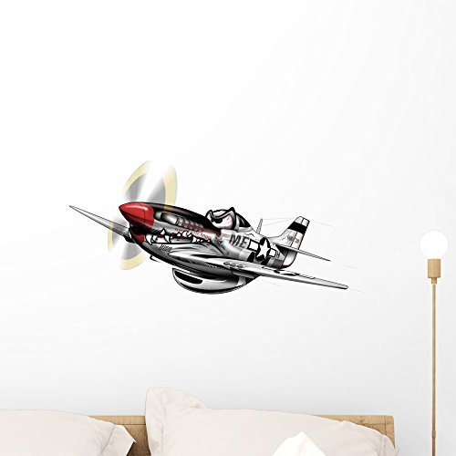 P-51 Mustang Wwii Airplane Wall Decal by Wallmonkeys Peel and Stick Graphic (24 in W x 16 in H) WM99278