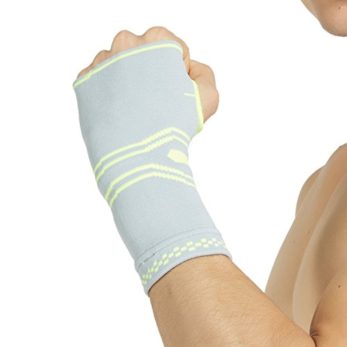 Neotech Care Hand Palm Brace with Silicone Gel Pad Insert - Lightweight, Elastic & Breathable Knitted Fabric Compression Sleeve - Grey Color - Size M - Package of 1 Unit ()