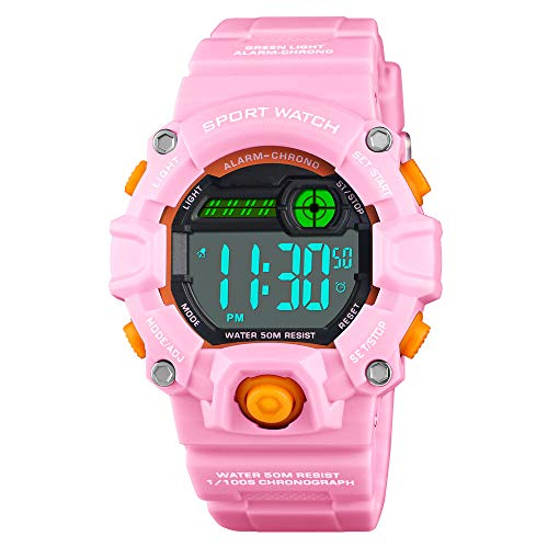 Venhoo Kids Digital Watches Outdoor Sport Waterproof Electronic LED Alarm Stopwatch Wrist Watch for Kids Girls-Pink (Best Watches For Girls)