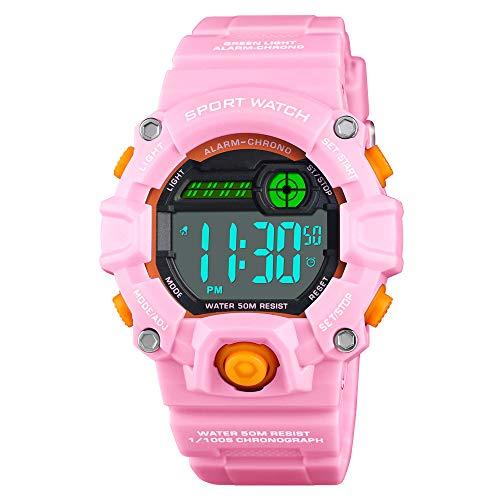 Venhoo Kids Digital Watches Outdoor Sport Waterproof Electronic LED Alarm Stopwatch Wrist Watch for Kids Girls-Pink (Outdoor Sport Wrist Watch)