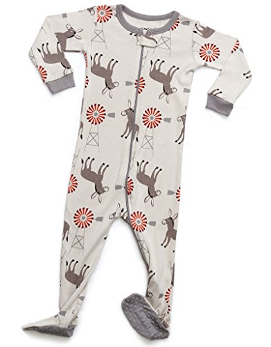 Leveret Kids Organic Cotton Donkey Baby Boys Girls Footed Pajamas Sleeper (Size 18-24 Months)