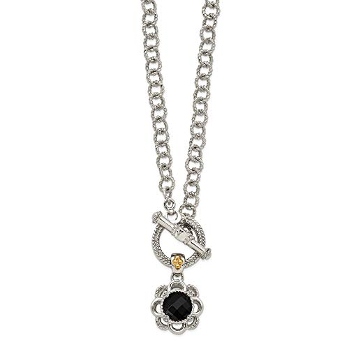 Toggle Onyx Necklace Black - 925 Sterling Silver 14k Accent Black Onyx Diamond Toggle Chain Necklace Pendant Charm Natural Stone Fine Jewelry Gifts For Women For Her