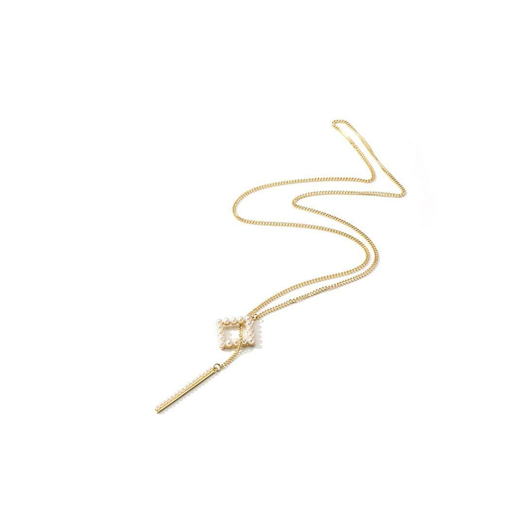 ZUXIANWANGレディースネックレス幾何学的な真珠のセーターチェーンロングジョーカーシンプルな秋冬レディースハイエンドネックレスアクセサリーファッション雰囲気   B07KRYLVTS