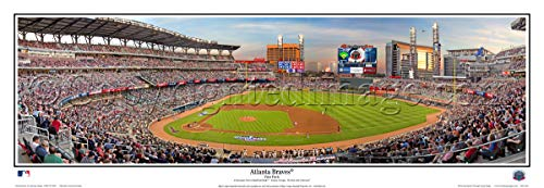 SportPicturesOnline Atlanta Braves First Pitch SunTrust Park - 2017-13.5x39 Panoramic Poster. Frame Dimensions 13.5x39 with Black Metal Frame #2127