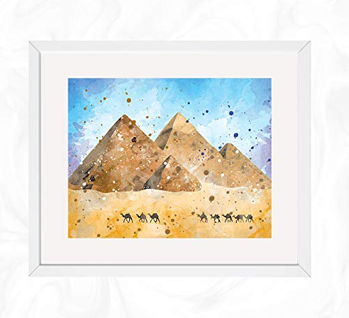 Great Pyramid of Giza Prints, World Wonders Watercolor, Nursery Wall Poster, Holiday Gift, Kids and Children Artworks, Digital Illustration Art