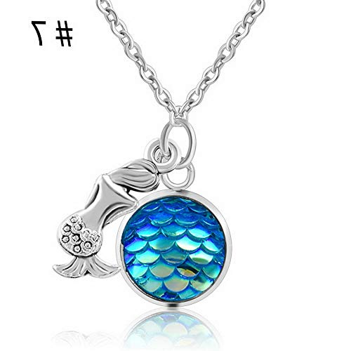 Werrox one Mermaid Fish Scale Charm Pendant Rainbow Holographic Sequins Chain Necklace | Model NCKLCS - 22868 - Oval Pendant Monogrammed