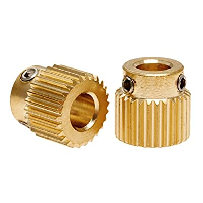 2Pcs Mk8 Extruder Drive Gear 26 Teeth Copper 11Mm X 11Mm For 3D Printer Makerbot