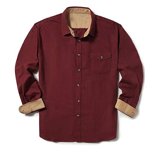 ZIOLOMA Men's Long Sleeve Flannel Solid Dress Shirts Western Button Down Shirts Wine - Flannel Sleeve Long