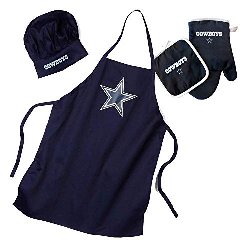 Pro Specialties Group NFL Dallas Cowboys Team Logo Barbeque Apron, Chef's Hat and Pot Holder Deluxe Set