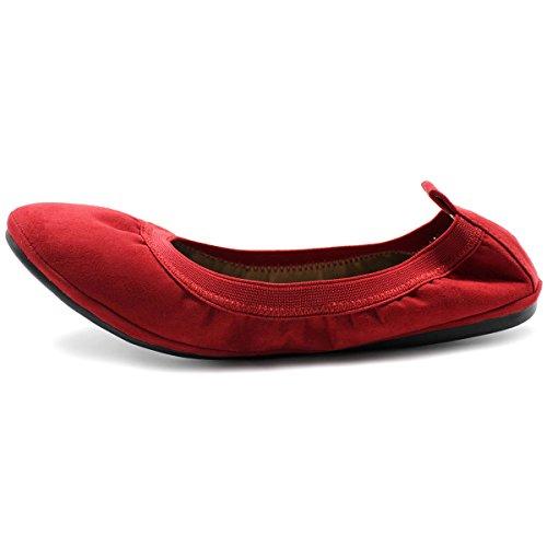 Ollio Zapatos De Mujer Faux Suede Comfort Ballet Flat Red