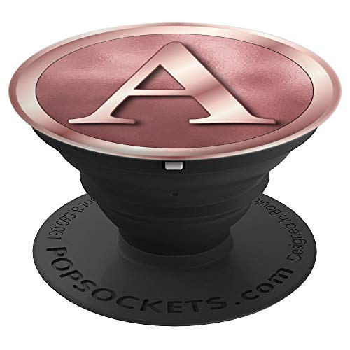 A Monogram Elegant Rose Gold Initial Letter A Monogram Grip - PopSockets Grip and Stand for Phones and ()