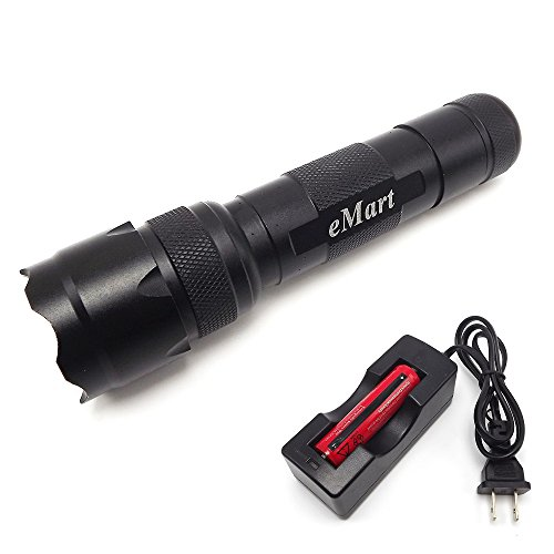 eMart WF-502B CREE XM-L T6 1000 Lumens LED Flashlight Camp Hiking Hunting Single-mode Mini Flash Light Lamp Torch with 1 x 18650 Rechargeable Battery & Charger