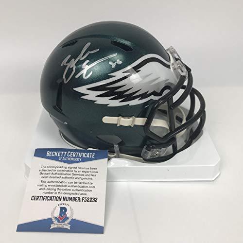 (Autographed/Signed Zach Ertz Philadelphia Eagles Football Mini Helmet Beckett BAS COA)